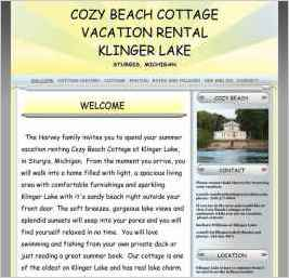 Cozy Beach Cottage Vacation Rental as Klinger Lake in Sturgis, MI